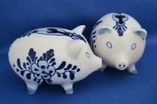 TWO DELFT piggy banks blue white flowers