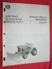 John Deere 120 Amp 140 Lawn Tractor 54 Front Blade Operators Manual Omm46643 H1