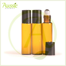10 x 15ml Amber Glass Roll On Bottles - Aromatherapy - Essential Oils - Perfume
