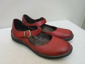 BORN 8 39 Red Leather Ankle Strappy Buckle Mary Jane Flats Loafers Casual Shoes
