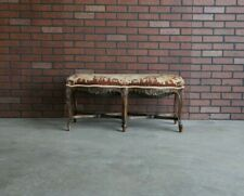 Antique French Bench ~ Carved Frame Bench ~ Tapestry Upholstered French Bench