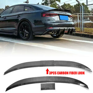 Carbon Fiber Look For Car Sedan Universal Adjustable Rear Trunk Spoiler Lip Wing