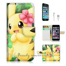 ( For iPhone 7 Plus ) Wallet Case Cover P0168 Pikachu Pokemon
