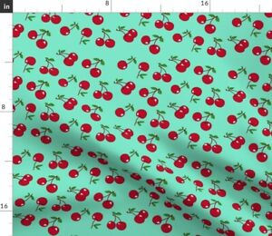 Red Turquoise Cherry Fifties Cherries Lolita Spoonflower Fabric by the Yard