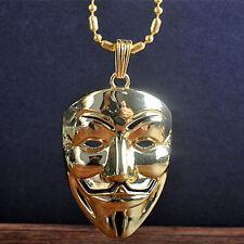 Anonymous V Vendetta Mask 3D Pendant Necklace Fashion Jewelry Women Mens Necklet