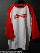Vintage BUDWEISER Long Sleeve Raglan Jersey Adult XXL Bowtie Logo 100% Cotton