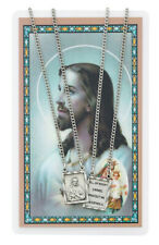 """Pewter Catholic Scapular Pendant Silver Double Ring Medal w 24"""" Chain"""