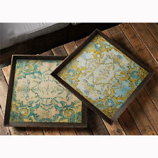 """Large Wooden Decorative Tray 24""""x24""""x2"""" Set Of 2 - 31221"""