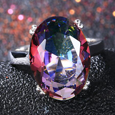 925 Silver LargeOval Cut  Mystical Rainbow Topaz Ring Women Jewelry Gift SZ 6