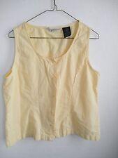 Ladies Summer Button Front Tank SHIRT Pastel YELLOW Comfy Cotton Dress Barn NICE