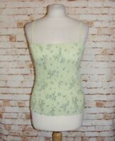 size M 12-14 H&M Mama maternity summer cami top shirred strappy green floral