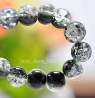 100 pcs White and black crackle glass round gasket charm beads 6MM