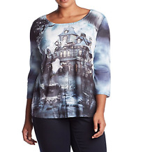 ONE WORLD WOMEN'S HALLOWEEN EMBELLISHED PRINTED 3/4 SLEEVE KNIT TOP PLUS Sz 2X