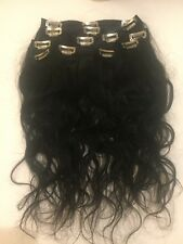 "16"" Brazilian Human Hair Extensions Slightly Wavy Clip In 5 pieces"