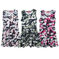 Girls Skater Dress New Kids Sleeveless Party Fit & Flare Dresses Ages 2-12 Years