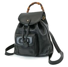 Authentic GUCCI Black Leather and Bamboo Handle Mini Backpack Bag #36310