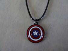 Tropicalia Handcrafted Captain America Shield Pendant + Black Necklace Indie