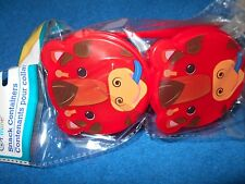 Animal Snack Container Set Of 2 1 Spoon Red Horse New Cute