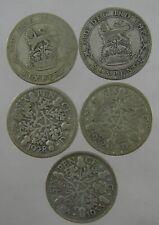 5 x George V Sixpences 1921/7/8/32/33 50% silver 13.4 g