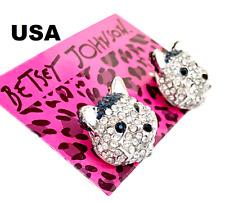 US Seller Betsey Johnson Crystal Dog Stud Earrings