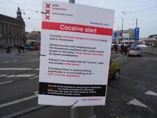 Old Photo.  Amsterdam, Holland.  Sign Toxic Cocaïne alert