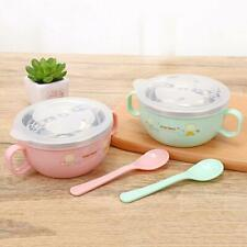 Kids Children Cartoon Stainless Steel Bowl Spoon Baby Food Feeding Tableware Set