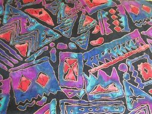 Hoffman cotton fabric Bright Rainbow Batiks Tribal on black BTHY half yard