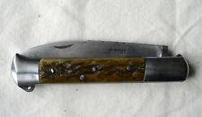 """magnifique ISSOIRE , THERIAS au Crocus """"73"""", couteau ancien, manche en os cerfé"""