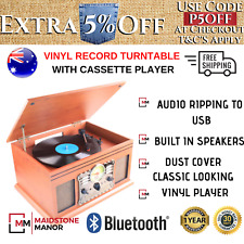 Vinyl Record Player Turntable Cassette USB SD CD FM/AM Stereo Speaker Vintage