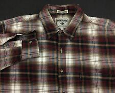 Men's Large The Great Plains Clothing Co LS Button Front Shirt Red Plaid Flannel