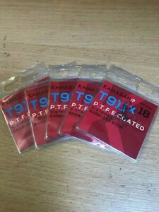 Five packets of Kamasan T911X PTFE Coated Barbless Eyed Hooks Size 18