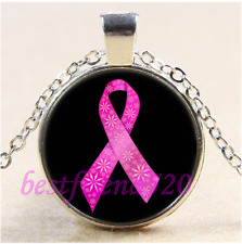 Breast Cancer Ribbon Cabochon Glass Tibet Silver Chain Pendant Necklace#CE54