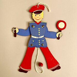 1950er Holz-Hampelmann 26cm Polizist Schutzmann SHABBY CHIC Deutsch Vintage ALT
