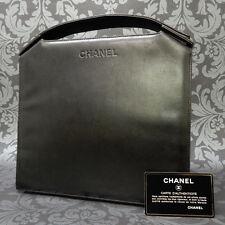 Rise-on Vintage CHANEL LAMB SKIN Black Handbag Purse Clutch #1485 t