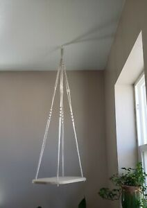 Hand Made Ceiling Hanging Shelf with Macramé Accents Plant