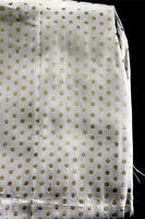 "Rare Vintage Deadstock 1950's White & Gold Silk Metallic Fabric 179"" L  x 37"" W"