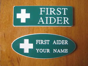 Engraved 'First Aid' Badge - ADD YOUR NAME - Oval / Rectangle Shape - UNIQUE