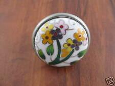 Knob Ceramic Nickel Cloisonne Floral Lantana Kitchen Cabinet Dresser PBF675Y