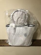 Michael Kors Signature Jet Set Item Large Top Zip Snap Pocket Tote WHITE/NAVY
