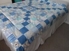 Handmade patchwork throw / quilt / bedspread in shades of blue.  4.5 tog rating