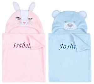 Personalised Baby Girl Boy Hooded Blanket Bunny Rabbit Shower Gift