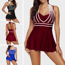 Plus Size Women Swimdress Tummy Control Swimsuit Halter Swimwear Tankini 2 Piece