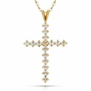 14K White or Yellow Gold Cubic Zirconia Cross Religious Symbol Pendant