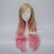 Lolita Lady Blonde Mixed Pink 70CM Long Curly Hair Party Cosplay Wig + Free Cap