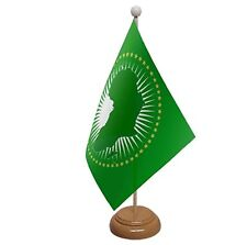 "AFRICAN UNION TABLE FLAG 9""X6"" WITH WOODEN BASE FLAGS AFRICA"
