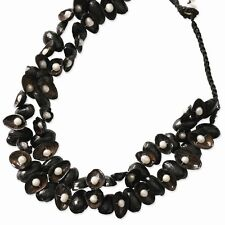 """Black Pistachio Shell & Cultured Freshwater Pearl Necklace 1"""" Extender"""