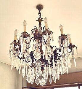 lampadario In Ottone E Gocce Di Cristallo Vintage
