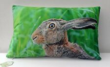 Hare Cushion,Soft Touch Small Throw Pillow with Wildlife design with Green Grass