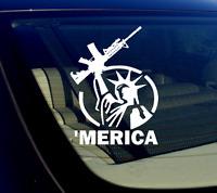 "x2 / /Two 'Merica! Vinyl Decal Sticker Bumper 2nd Amendment 5.56 5"""