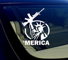 "AR-15 'Merica! Vinyl Decal Sticker Bumper Gun Ammo Assault Rifle 5.56 5"" - White"